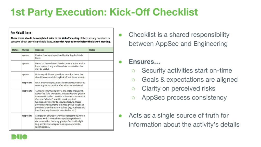 1st Party Execution: Kick-Off Checklist ● Check...