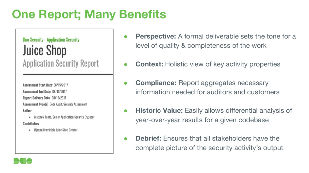 One Report; Many Benefits ● Perspective: A form...