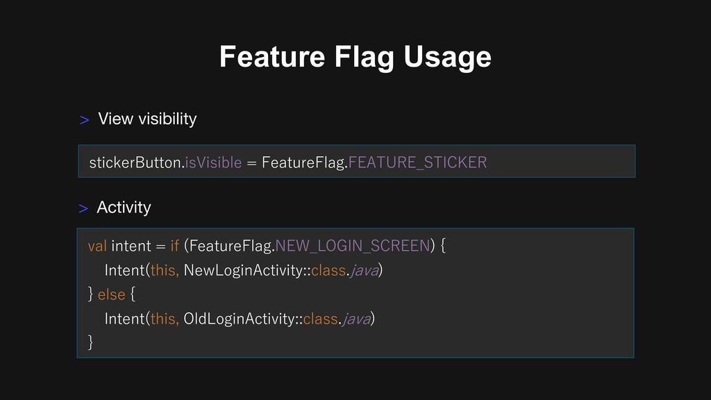 Feature Flag Usage > Activity I B CG CG ) G E )...
