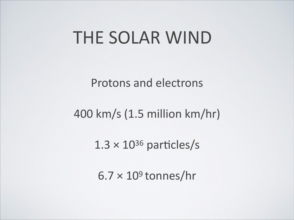THE SOLAR WIND Protons and electrons  ! 40...