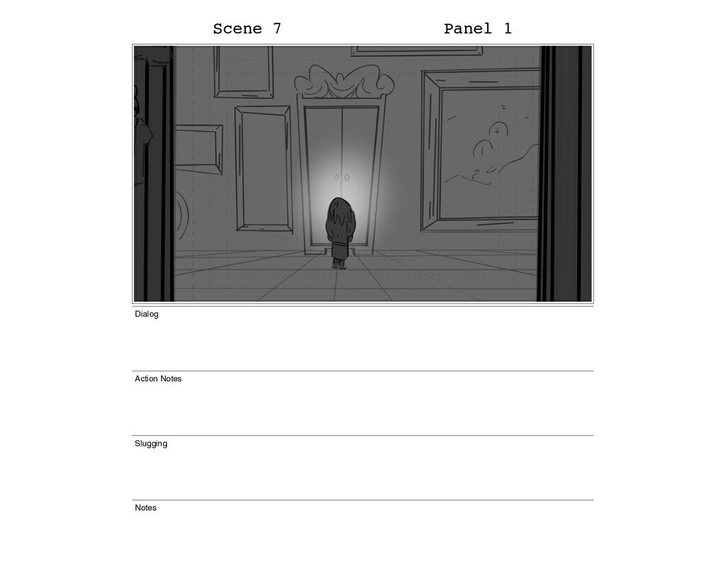 Scene 7 Panel 1 Dialog Action Notes Slugging No...