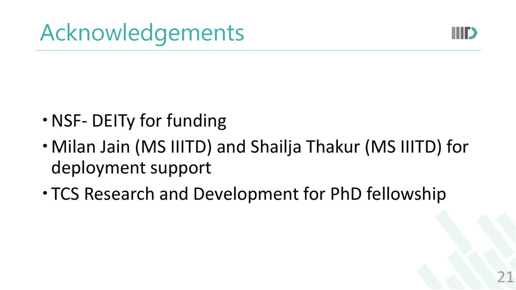 Acknowledgements NSF- DEITy for funding Milan...