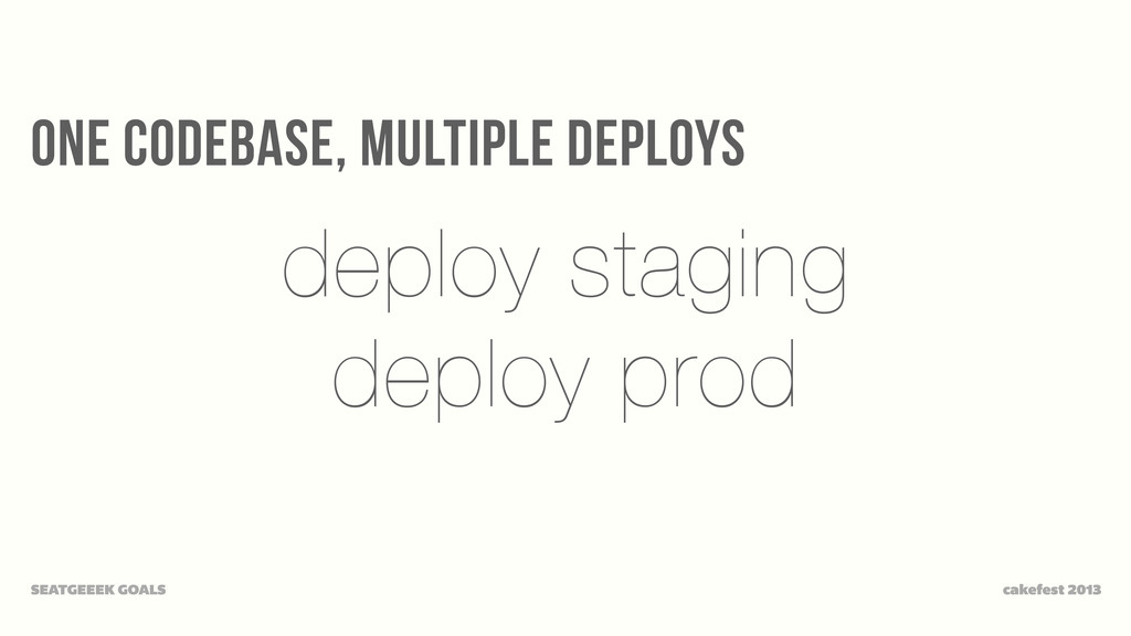 one codebase, multiple deploys cakefest 2013 SE...