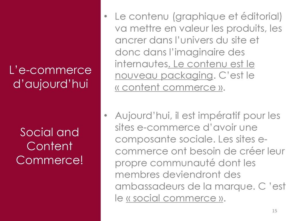 L'e-commerce d'aujourd'hui 15 Social and Conten...