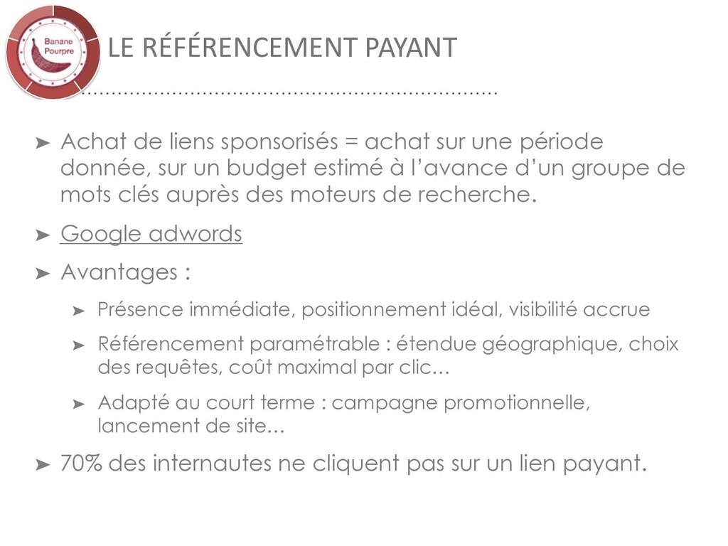 LE RÉFÉRENCEMENT PAYANT ➤ Achat de liens sponso...