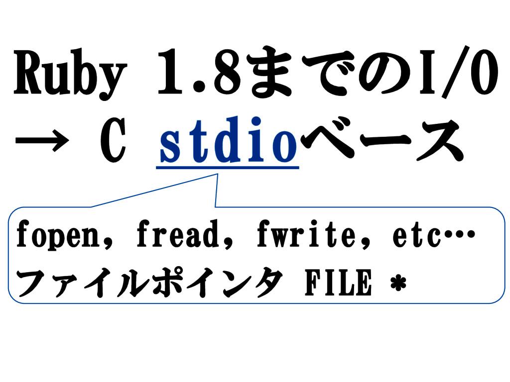 Ruby 1.8までのI/O → C stdioベース fopen, fread, fwrit...