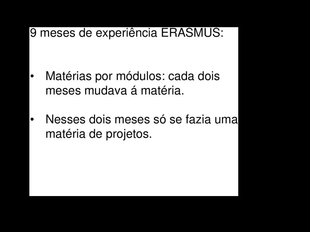 9 meses de experiência ERASMUS: • Matérias por ...