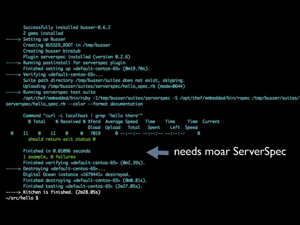 needs moar ServerSpec