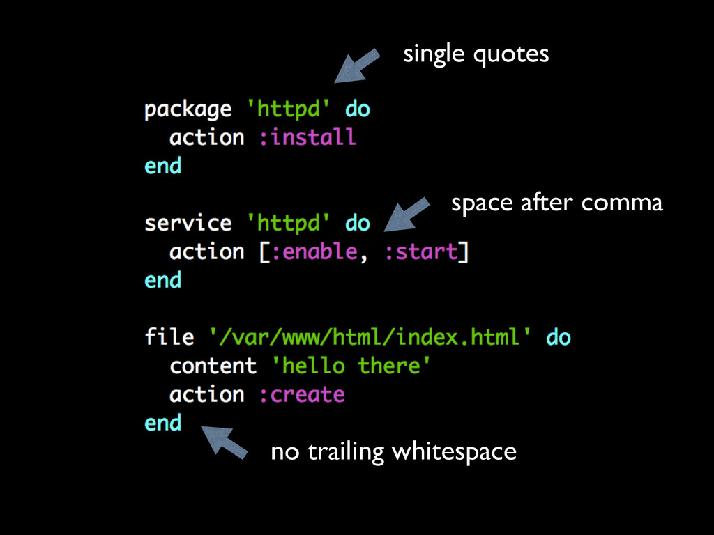 single quotes space after comma no trailing whi...