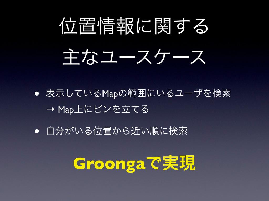 Ґஔใʹؔ͢Δ ओͳϢʔεέʔε • ද͍ࣔͯ͠ΔMapͷൣғʹ͍ΔϢʔβΛݕࡧ → Map...