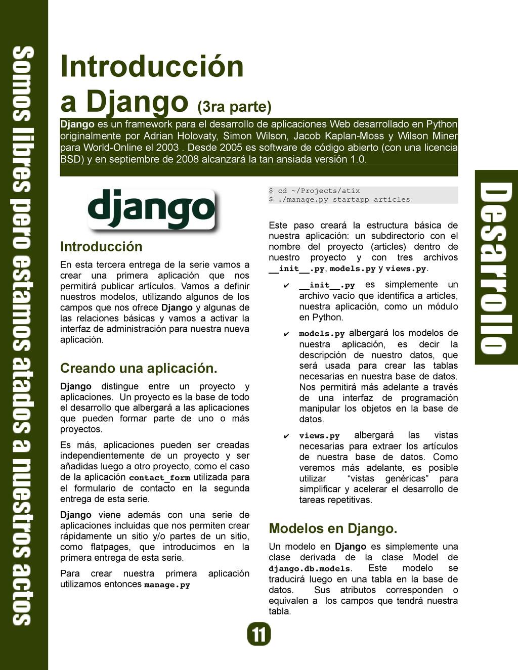 Introducción a Django (3ra parte) Django es un ...
