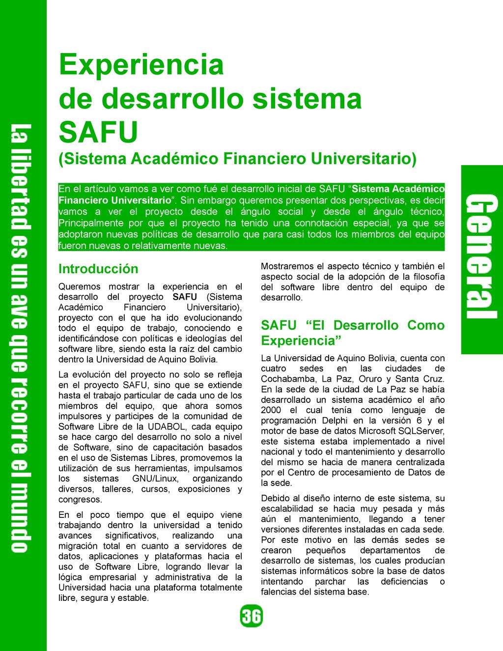 Experiencia de desarrollo sistema SAFU (Sistema...