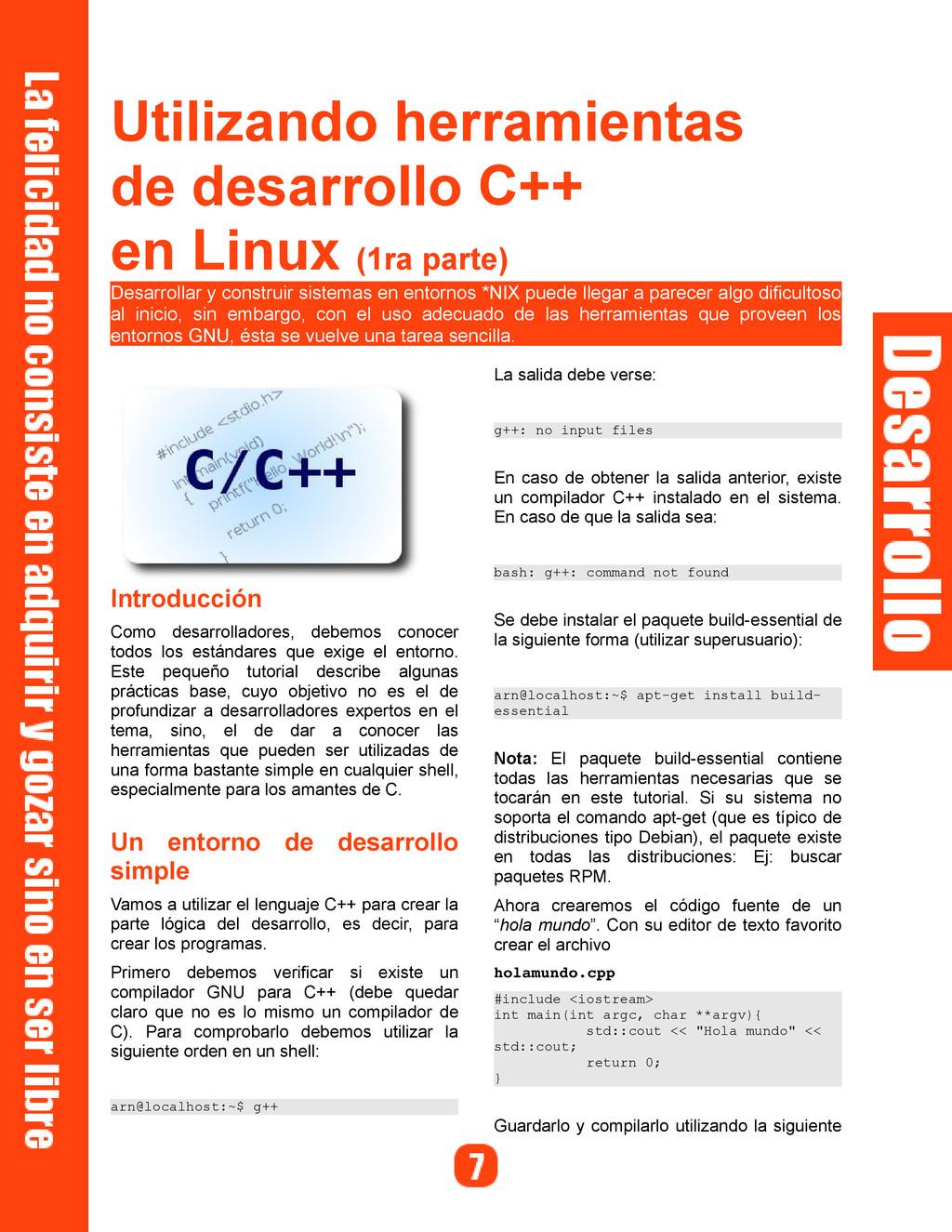Utilizando herramientas de desarrollo C++ en Li...