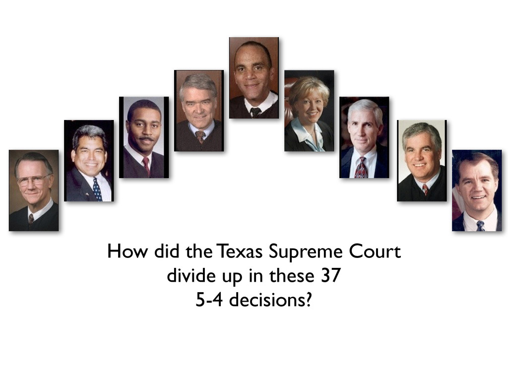 How did the Texas Supreme Court divide up in t...