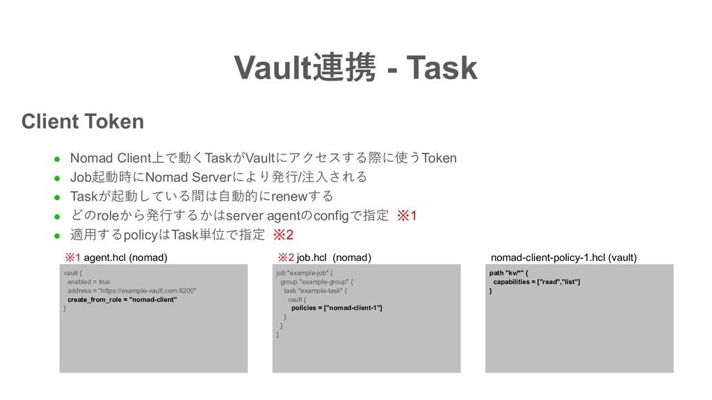 Vault連携 - Task l Nomad Client上で動くTaskがVaultにアクセ...