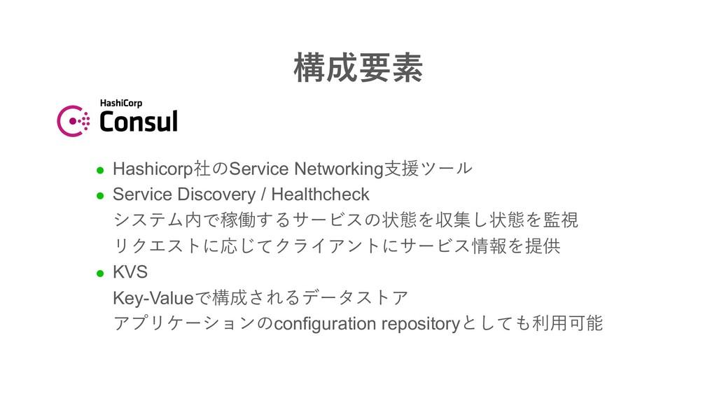 構成要素 l Hashicorp社のService Networking⽀援ツール l Ser...