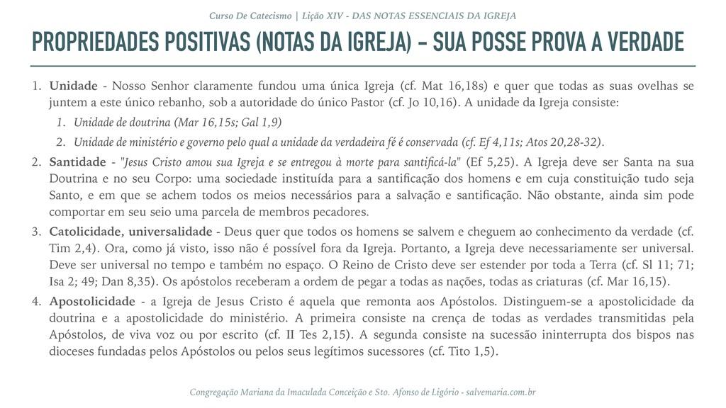 PROPRIEDADES POSITIVAS (NOTAS DA IGREJA) - SUA ...