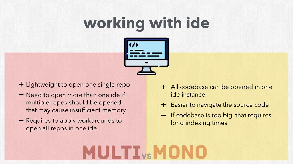 MULTI mono vs working with ide All codebase can...