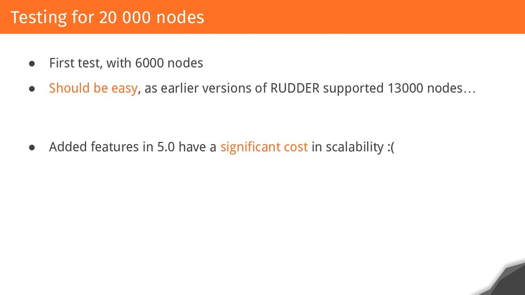 ● First test, with 6000 nodes ● Should be easy,...