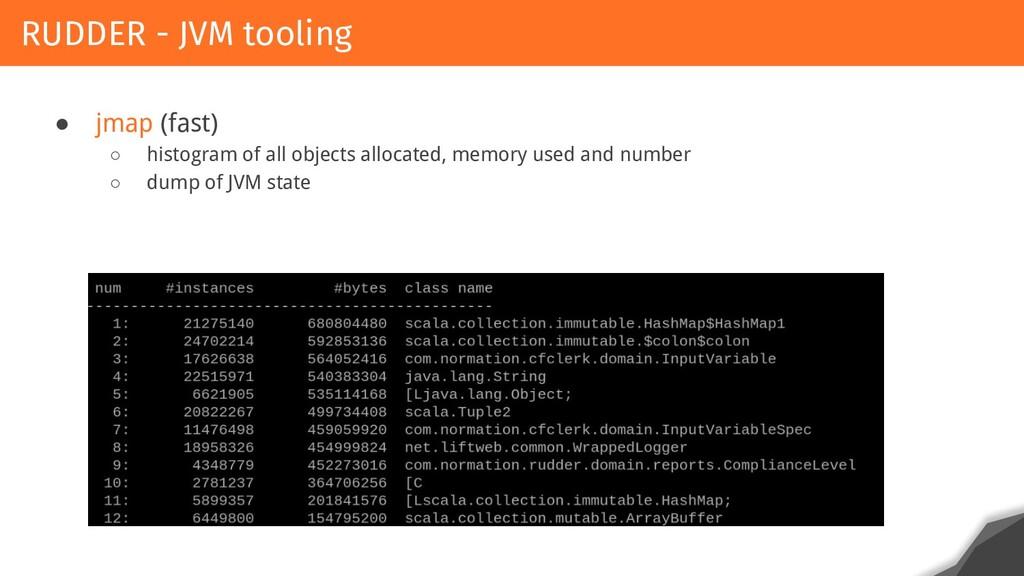 ● jmap (fast) ○ histogram of all objects alloca...