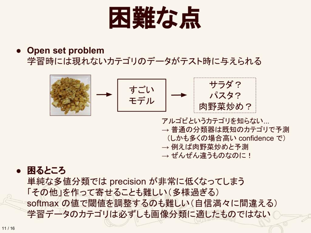 困難な点 11 / 16 ● Open set problem 学習時には現れないカテゴリのデ...