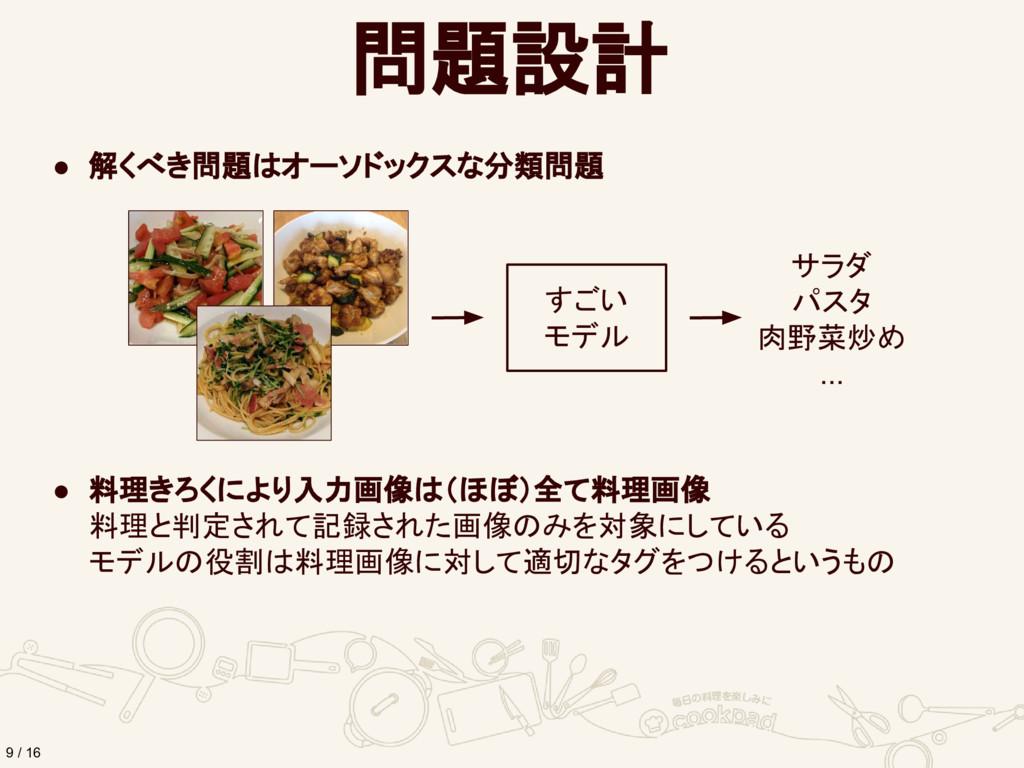 問題設計 9 / 16 ● 解くべき問題はオーソドックスな分類問題 ● 料理きろくにより入力画...