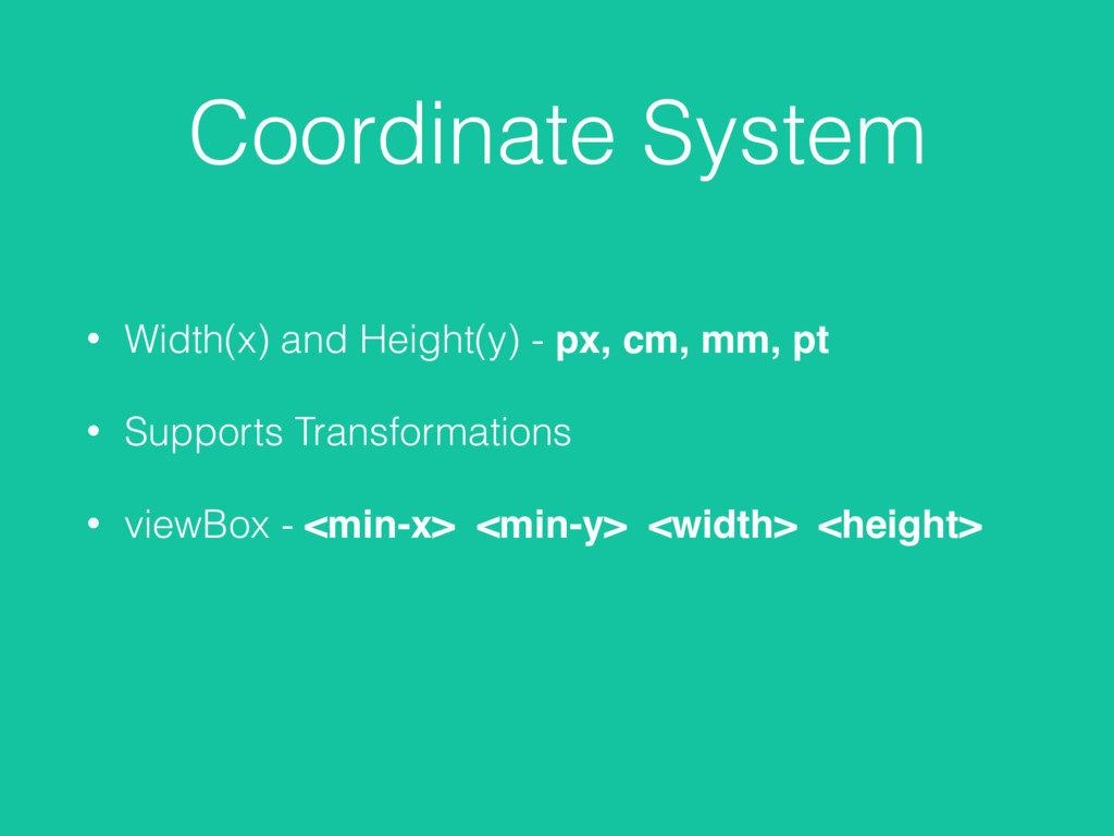 Coordinate System • Width(x) and Height(y) - px...