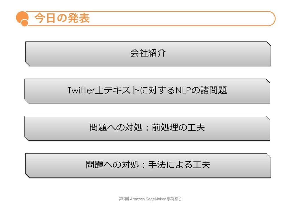 今⽇の発表 第6回 Amazon SageMaker 事例祭り Twitter上テキストに対す...