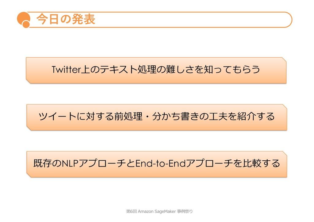 今⽇の発表 第6回 Amazon SageMaker 事例祭り Twitter上のテキスト処理...