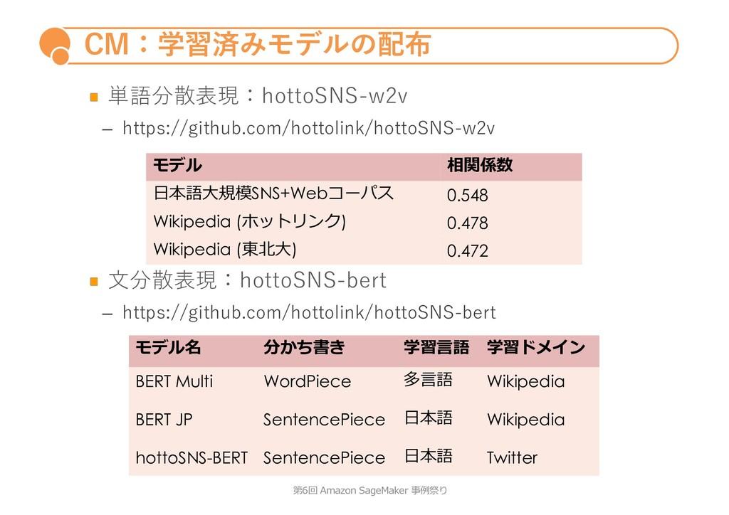 CM:学習済みモデルの配布 単語分散表現:hottoSNS-w2v – https://git...