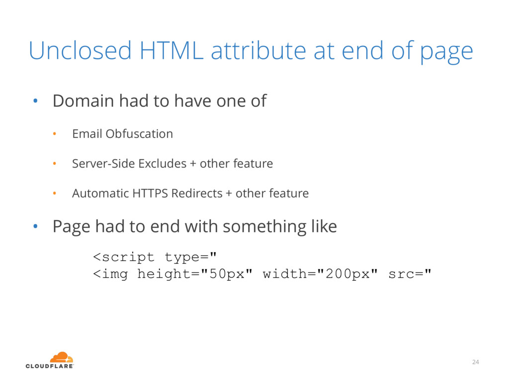 Unclosed HTML attribute at end of page • Domain...