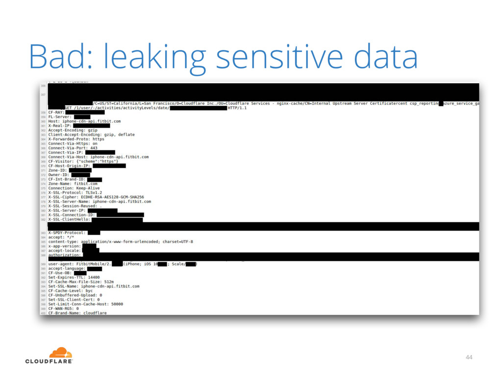 Bad: leaking sensitive data 44