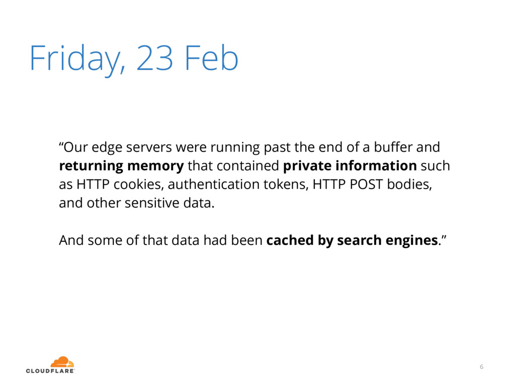 """Friday, 23 Feb 6 """"Our edge servers were running..."""