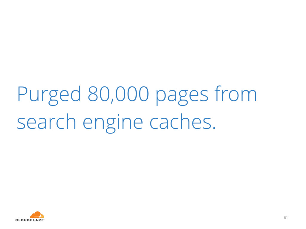 61 Purged 80,000 pages from search engine cache...
