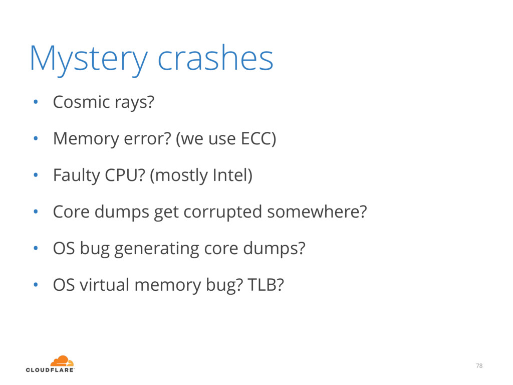 Mystery crashes • Cosmic rays? • Memory error? ...