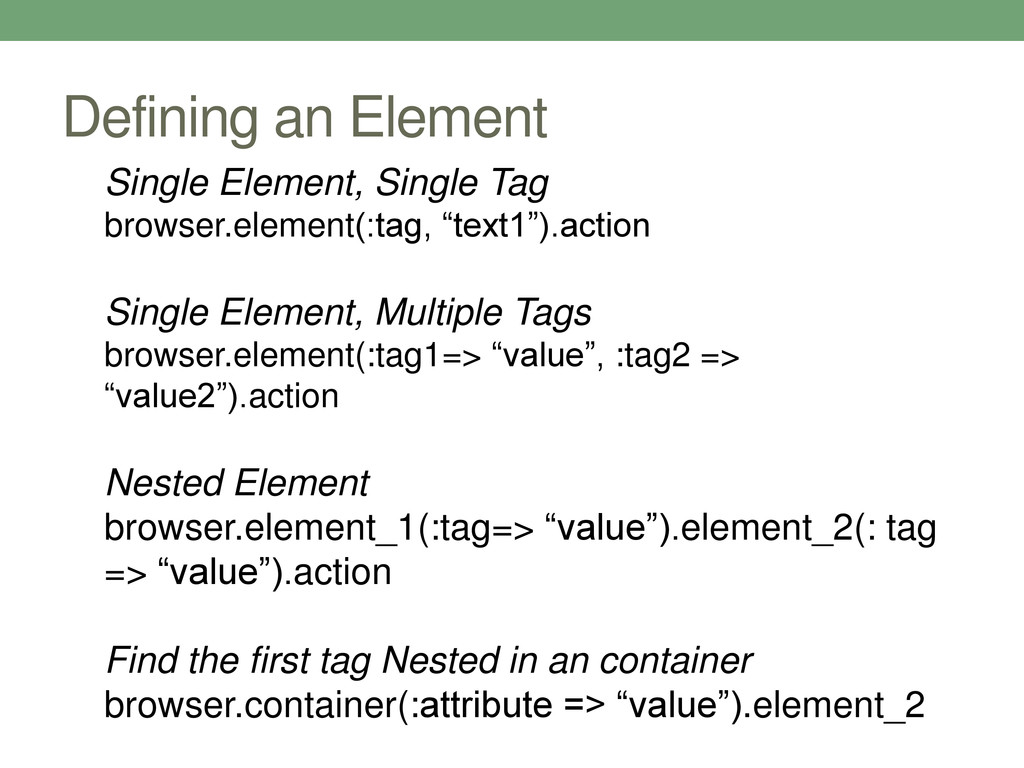 Defining an Element Single Element, Single Tag ...
