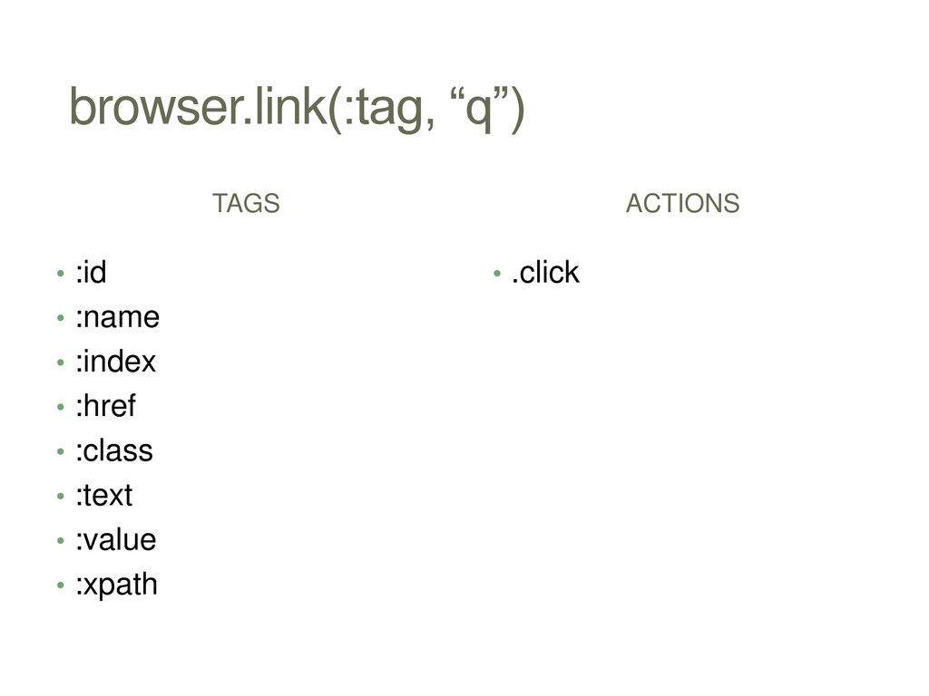 "browser.link(:tag, ""q"") TAGS • :id • :name • :i..."