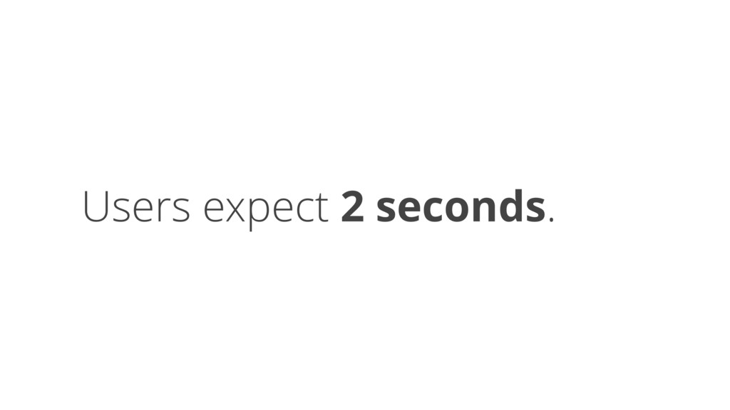 Users expect 2 seconds.