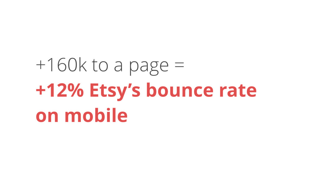+160k to a page = +12% Etsy's bounce rate 