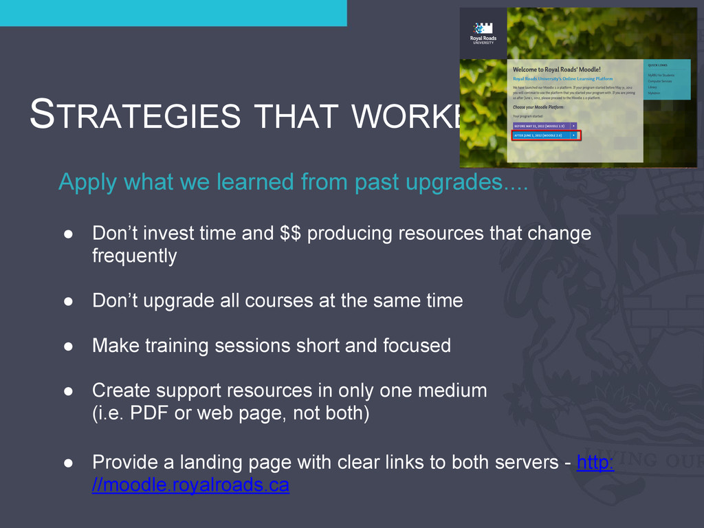 Apply what we learned from past upgrades.... ST...