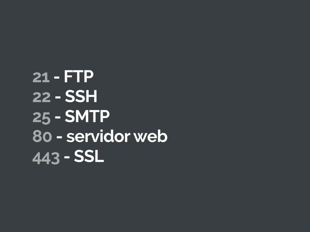 21 - FTP 22 - SSH 25 - SMTP 80 - servidor web 4...