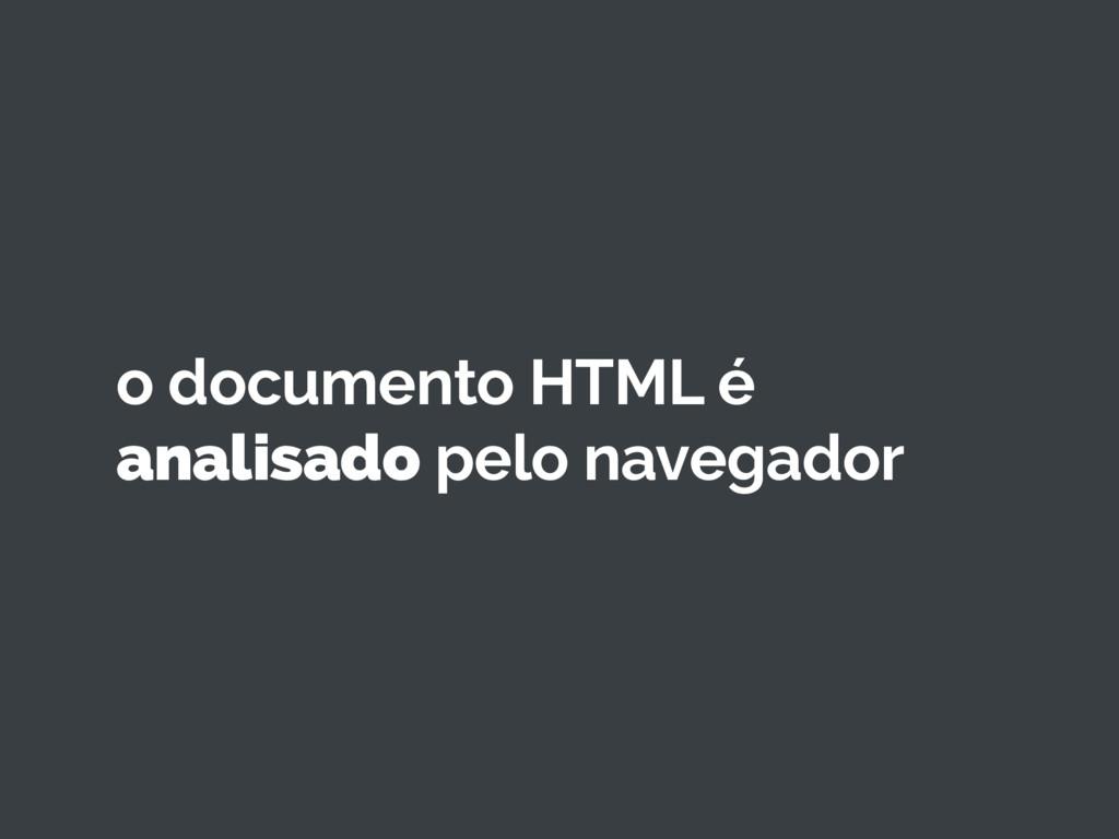 o documento HTML é analisado pelo navegador