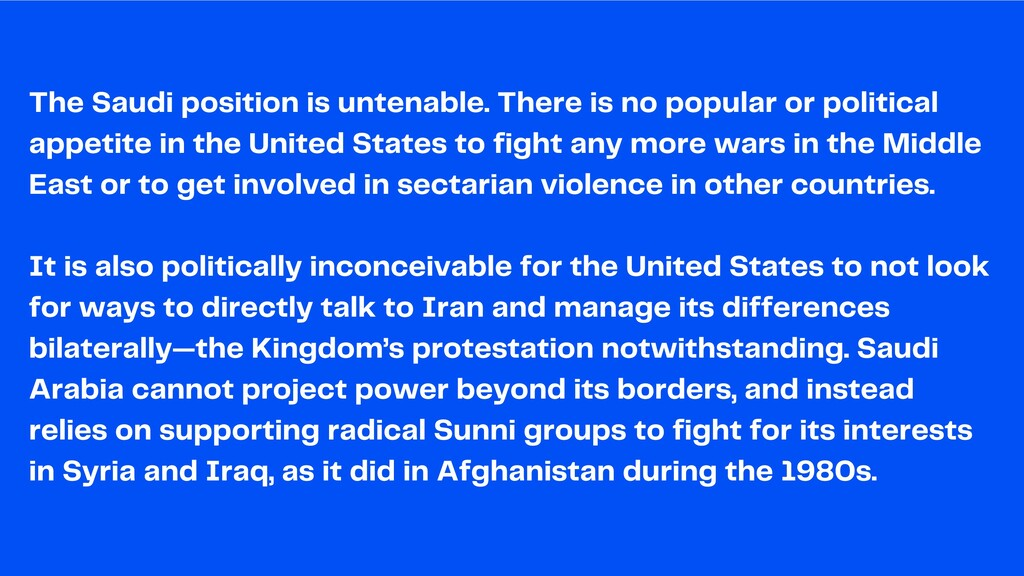 The Saudi position is untenable. There is no po...