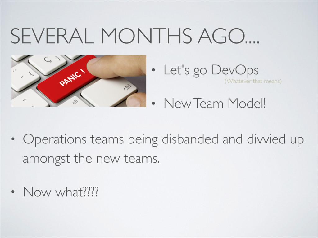 SEVERAL MONTHS AGO.... • Let's go DevOps • New ...