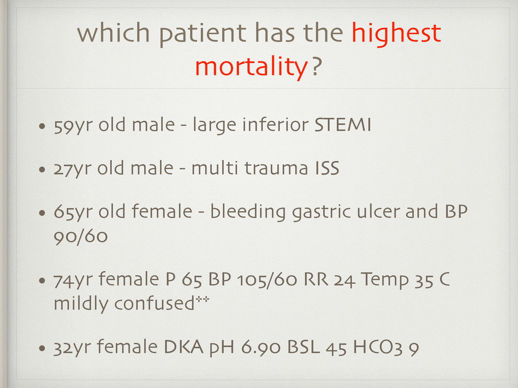 which patient has the highest mortality? • 59yr...