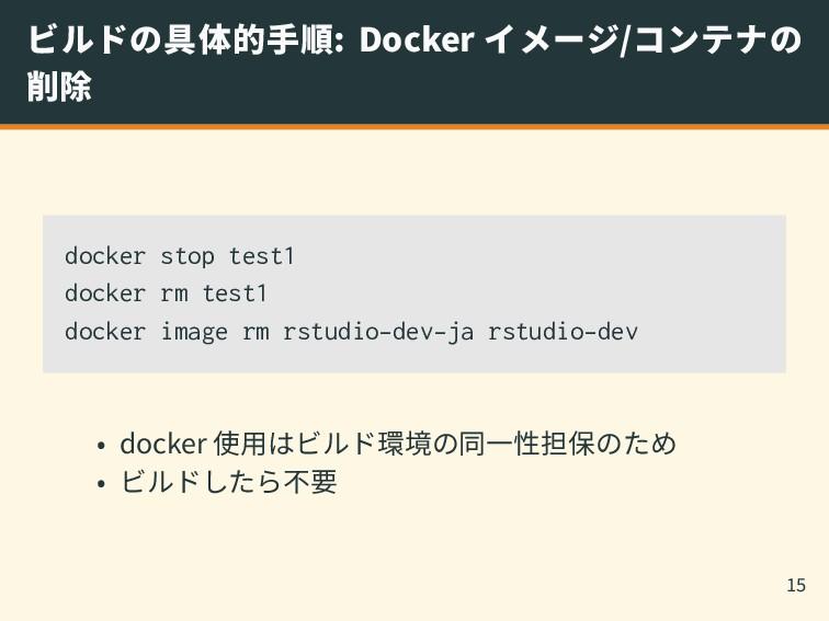 ビルドの具体的手順: Docker イメージ/コンテナの 削除 docker stop tes...