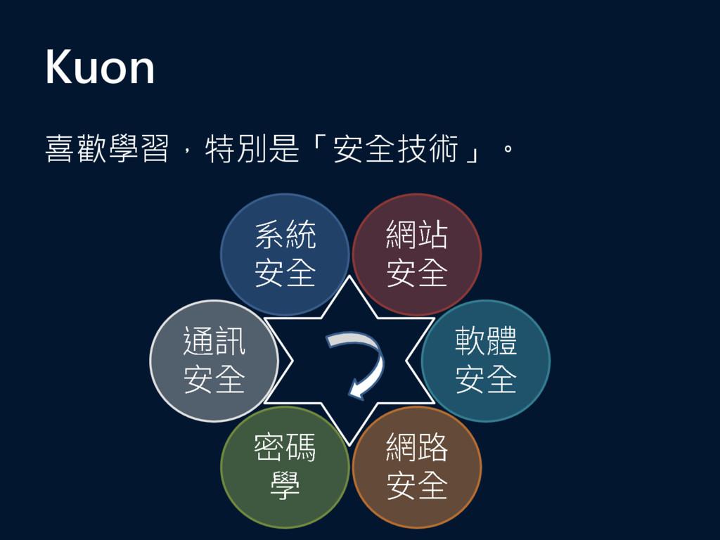 Kuon 喜歡學習,特別是「安全技術」。