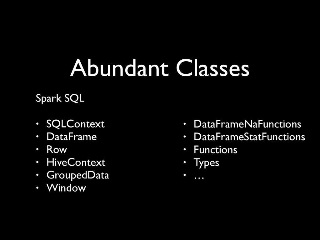 Abundant Classes Spark SQL	 