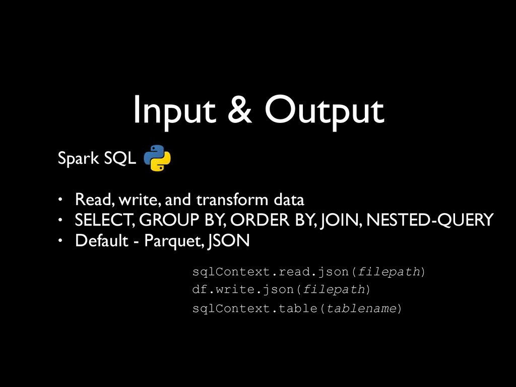 Input & Output Spark SQL	 