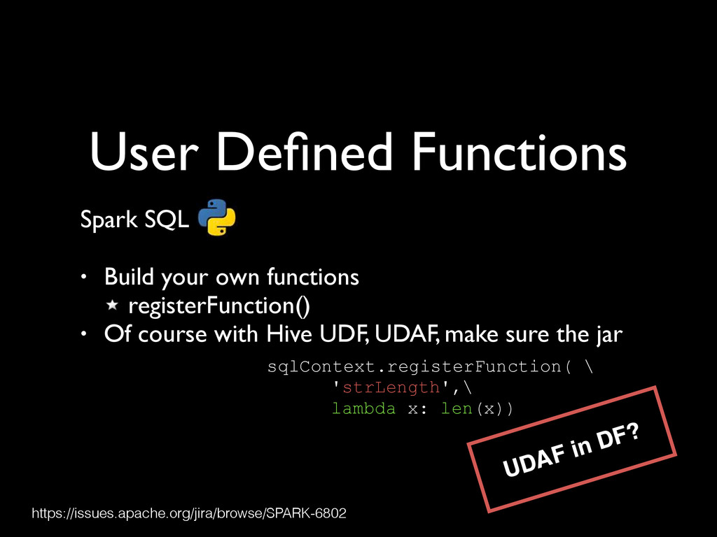 User Defined Functions Spark SQL	 
